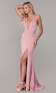 Image of long low-v-neck prom dress with side slit. Style: DJ-A7852 Detail Image 3