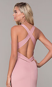 Image of long low-v-neck prom dress with side slit. Style: DJ-A7852 Detail Image 6
