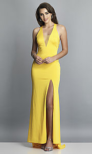 Image of long low-v-neck prom dress with side slit. Style: DJ-A7852 Detail Image 7