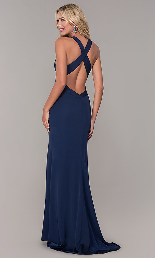 Image of long low-v-neck prom dress with side slit. Style: DJ-A7852 Back Image
