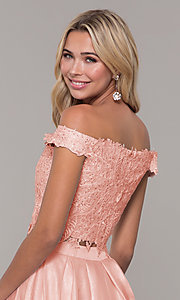 Image of two-piece long off-the-shoulder prom dress. Style: DJ-A7796 Detail Image 2
