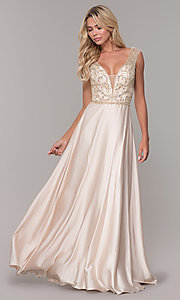 Image of long nude v-neck prom dress by Dave and Johnny. Style: DJ-A7376 Front Image