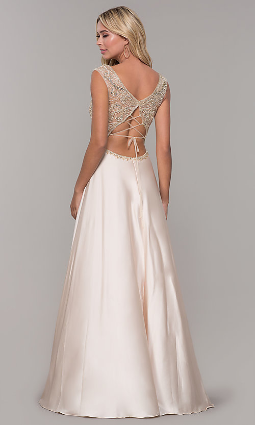 Image of long nude v-neck prom dress by Dave and Johnny. Style: DJ-A7376 Back Image