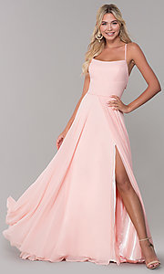 Image of long open-back side-slit prom dress in blush pink. Style: DJ-A7987 Front Image