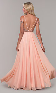 Image of long cold-shoulder prom dress with sequin bodice. Style: DJ-A7197 Back Image