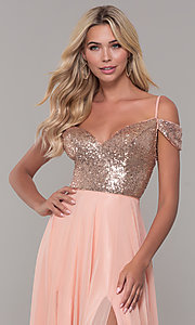 Image of long cold-shoulder prom dress with sequin bodice. Style: DJ-A7197 Detail Image 1
