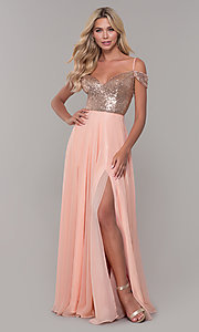 Image of long cold-shoulder prom dress with sequin bodice. Style: DJ-A7197 Detail Image 3