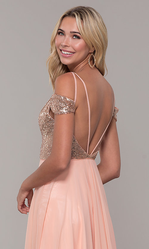 Image of long cold-shoulder prom dress with sequin bodice. Style: DJ-A7197 Detail Image 2
