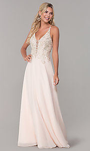 Image of long nude prom dress with embroidered bodice. Style: DJ-A7590 Front Image