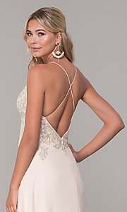Image of long nude prom dress with embroidered bodice. Style: DJ-A7590 Detail Image 2