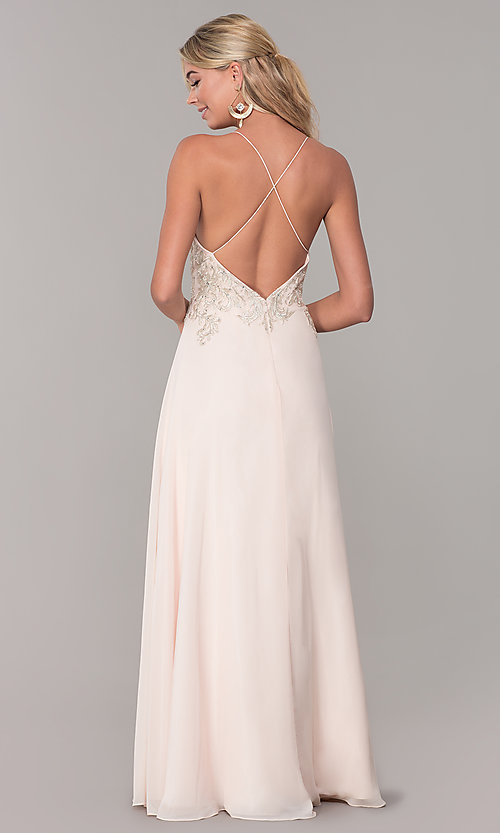 Image of long nude prom dress with embroidered bodice. Style: DJ-A7590 Back Image