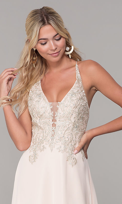 Image of long nude prom dress with embroidered bodice. Style: DJ-A7590 Detail Image 1