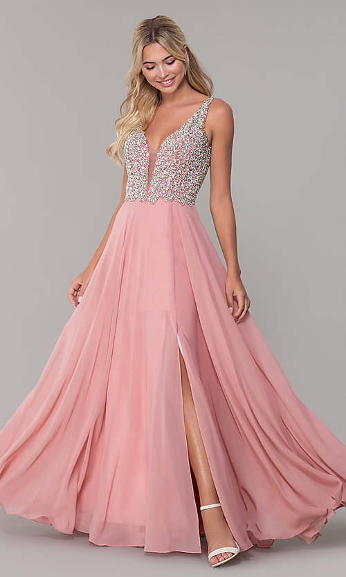 Image of beaded-bodice long Dave and Johnny prom dress. Style: DJ-A7159 Detail Image 3