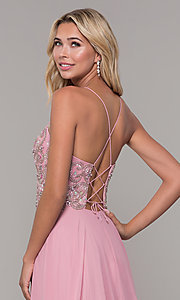 Image of mauve pink long prom dress with corset back. Style: DJ-A7639 Detail Image 2