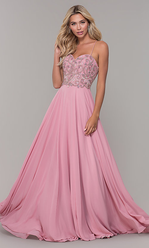 Image of mauve pink long prom dress with corset back. Style: DJ-A7639 Front Image