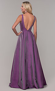 Image of purple v-neck long prom dress by Dave and Johnny. Style: DJ-A7325 Back Image