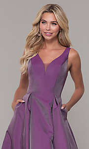Image of purple v-neck long prom dress by Dave and Johnny. Style: DJ-A7325 Detail Image 1