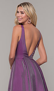 Image of purple v-neck long prom dress by Dave and Johnny. Style: DJ-A7325 Detail Image 2