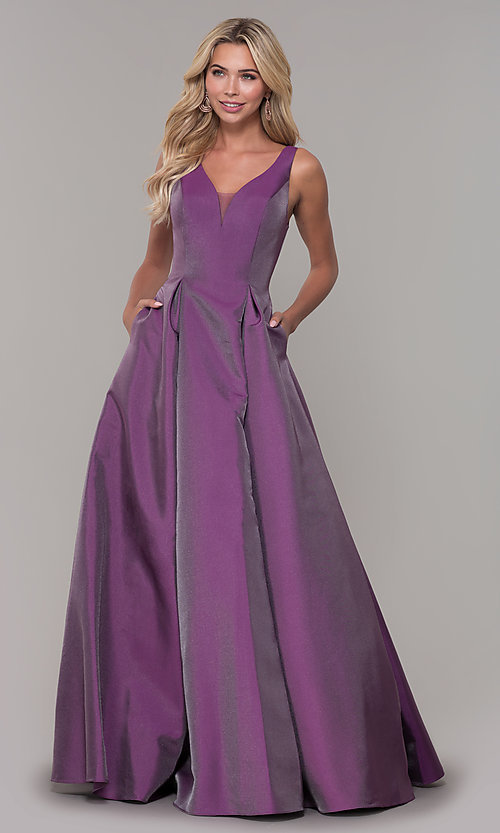 Image of purple v-neck long prom dress by Dave and Johnny. Style: DJ-A7325 Detail Image 3