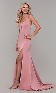 Image of Dave and Johnny mauve prom dress with open back. Style: DJ-A7090 Detail Image 3