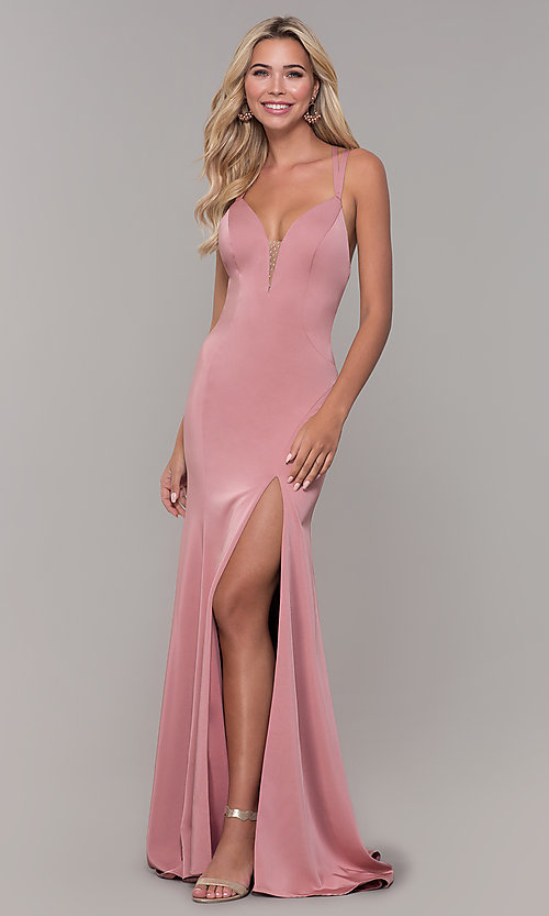 Image of Dave and Johnny mauve prom dress with open back. Style: DJ-A7090 Front Image