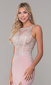 Image of Dave and Johnny long rose pink prom dress.  Style: DJ-A7586 Detail Image 1