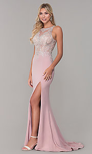 Image of Dave and Johnny long rose pink prom dress.  Style: DJ-A7586 Detail Image 3