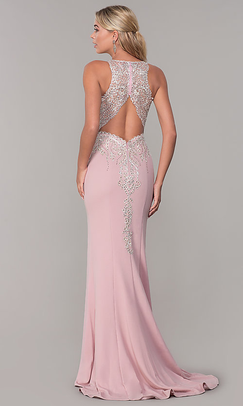 Image of Dave and Johnny long rose pink prom dress.  Style: DJ-A7586 Back Image