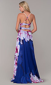 Image of long square-neck floral-print prom dress. Style: DJ-A6932 Front Image