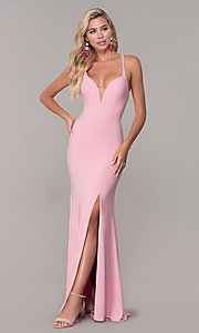 Image of open-back long v-neck prom dress by Dave and Johnny. Style: DJ-A7256 Detail Image 4