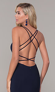 Image of open-back long v-neck prom dress by Dave and Johnny. Style: DJ-A7256 Detail Image 2