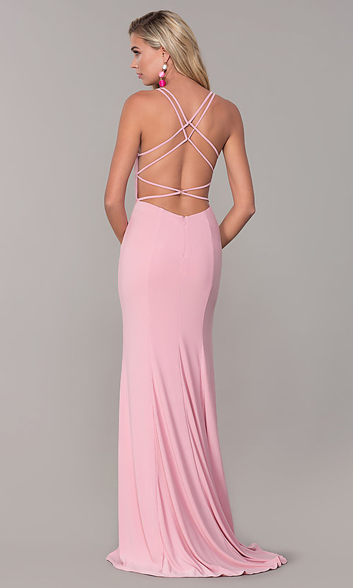 Image of open-back long v-neck prom dress by Dave and Johnny. Style: DJ-A7256 Detail Image 5