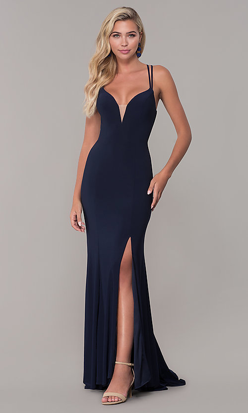 Image of open-back long v-neck prom dress by Dave and Johnny. Style: DJ-A7256 Front Image