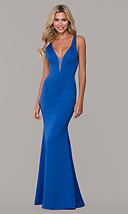Image of long Dave and Johnny prom dress with v-neckline. Style: DJ-A7157 Front Image