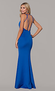 Image of long Dave and Johnny prom dress with v-neckline. Style: DJ-A7157 Back Image