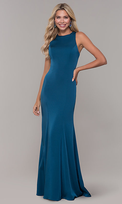 Image of teal long Dave and Johnny prom dress with corset. Style: DJ-A7231 Back Image