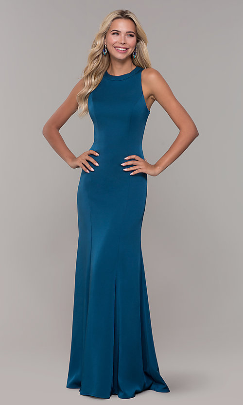 Image of teal long Dave and Johnny prom dress with corset. Style: DJ-A7231 Detail Image 3