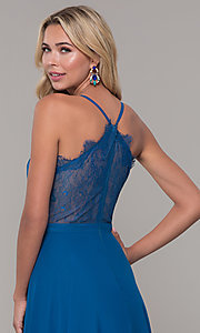 Image of long teal blue prom dress with illusion lace back. Style: DJ-A7102 Detail Image 2
