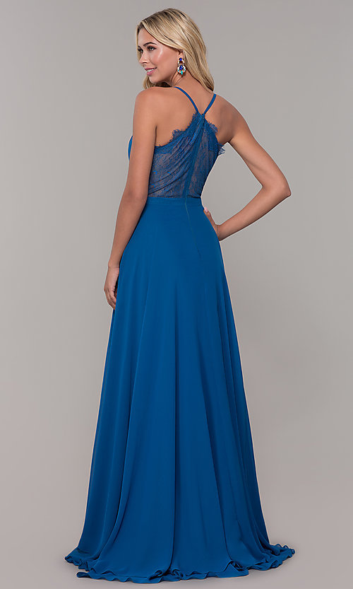 Image of long teal blue prom dress with illusion lace back. Style: DJ-A7102 Back Image