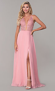 Image of low-v-neck long Dave and Johnny prom dress. Style: DJ-A7174 Front Image