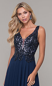 Image of navy blue long prom dress with beaded bodice. Style: DJ-A7868 Detail Image 1