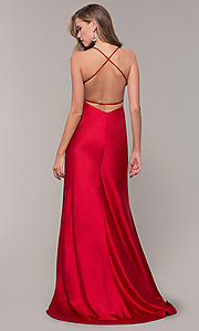 Image of long open-back satin prom dress by Dave and Johnny. Style: DJ-A7534 Back Image