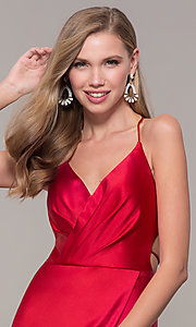 Image of long open-back satin prom dress by Dave and Johnny. Style: DJ-A7534 Detail Image 1