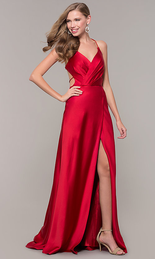 Image of long open-back satin prom dress by Dave and Johnny. Style: DJ-A7534 Front Image