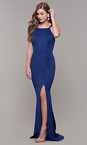 Image of long Dave and Johnny prom dress with open back. Style: DJ-A7022 Back Image