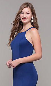 Image of long Dave and Johnny prom dress with open back. Style: DJ-A7022 Detail Image 1