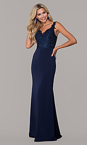 Image of Dave and Johnny long navy prom dress with lace. Style: DJ-A6845 Front Image