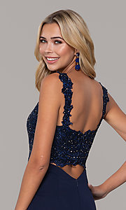 Image of Dave and Johnny long navy prom dress with lace. Style: DJ-A6845 Detail Image 2