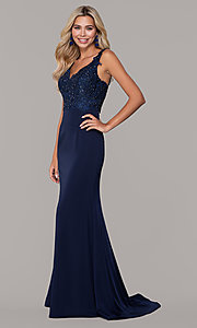 Image of Dave and Johnny long navy prom dress with lace. Style: DJ-A6845 Detail Image 3