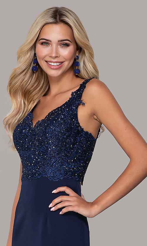 Image of Dave and Johnny long navy prom dress with lace. Style: DJ-A6845 Detail Image 1